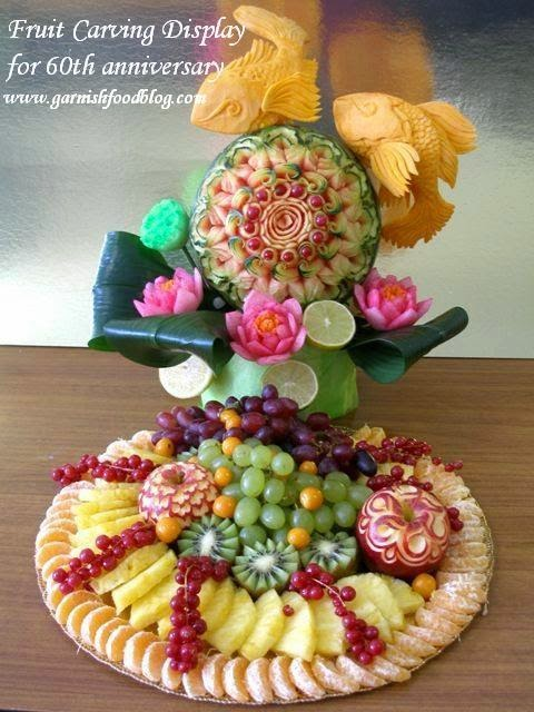 watermelon carving and fruit tray for korean birthday