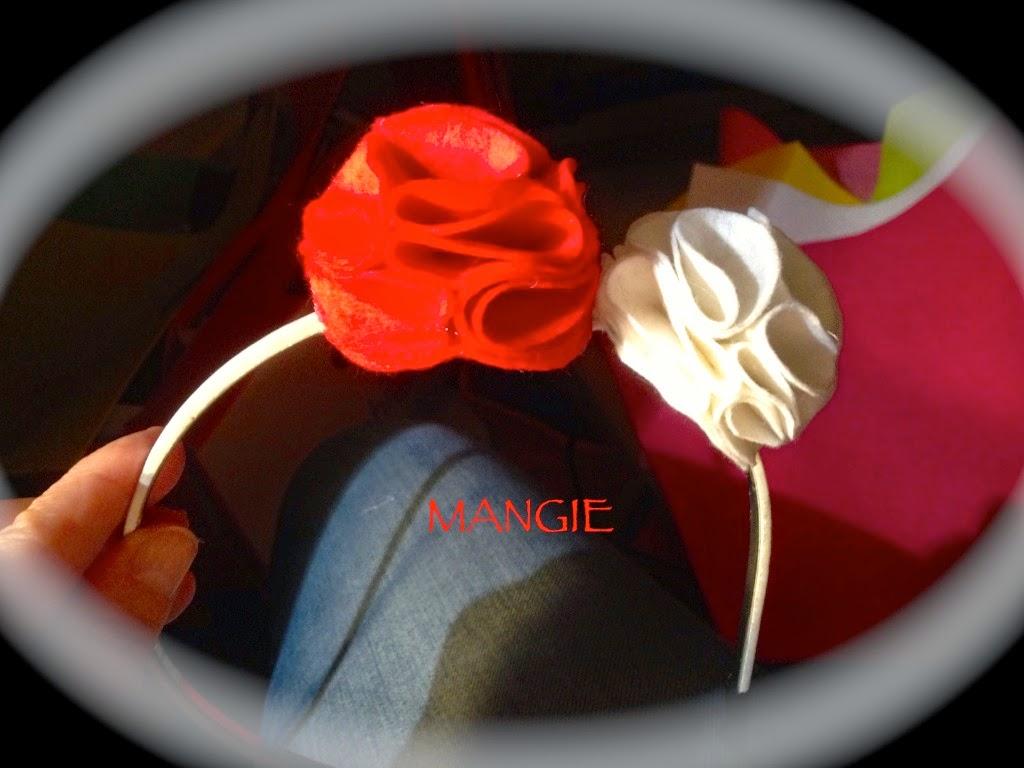 Diademas dos rosas roja y blanca