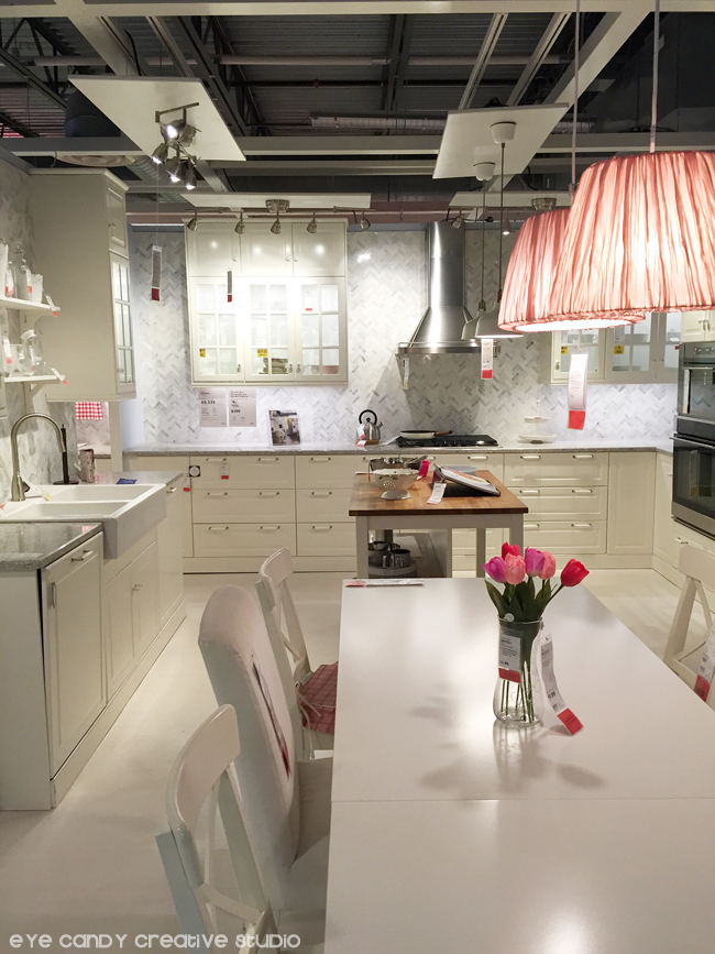 white kitchen ideas, IKEA kitchen, blush lampshades, white kitchen cabinets