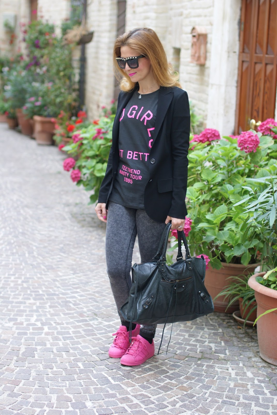 adidas supercolor pink and Carla G blazer on Fashion and Cookies fashion blog