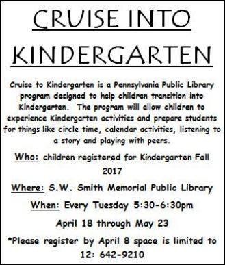 4-18 Thru 5-23 Cruise Into Kindergarten