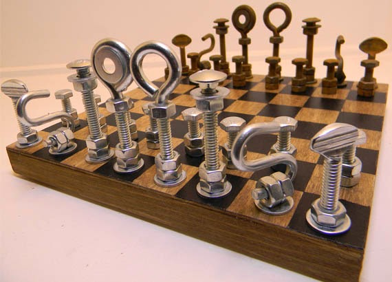 Oversized chess and checkers the board is crafted of inlaid wood