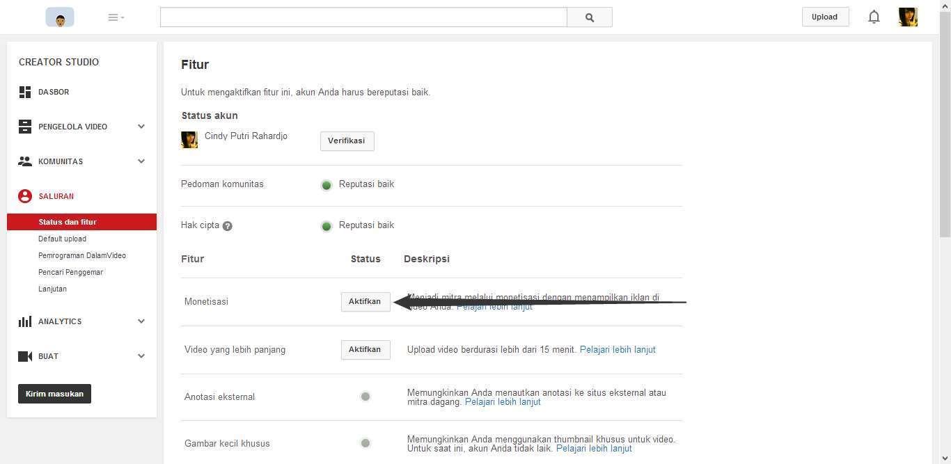 Cara Mengaktifkan Fitur Monetisasi YouTube 2