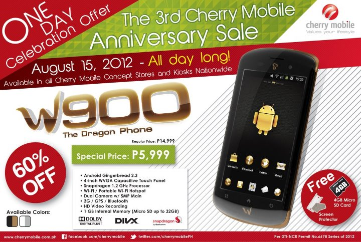 cherry mobile w900 dragon phone android anniversary 3 day sale
