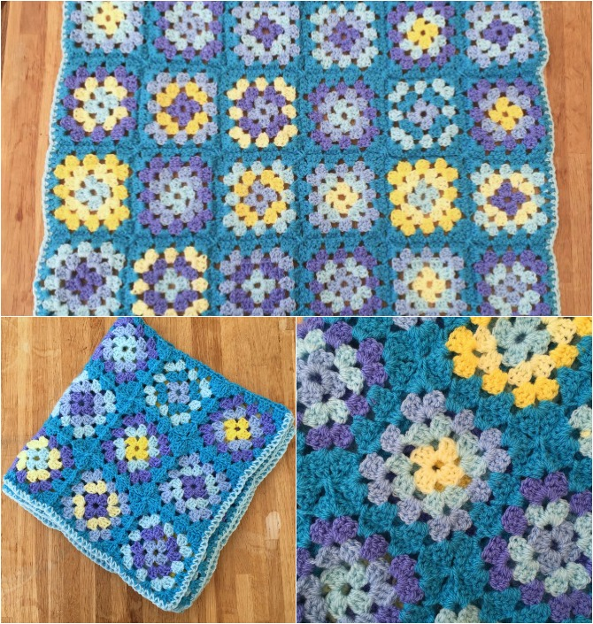 Baby boy granny square blanket