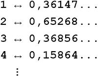 Correspondência entre os naturais e os elementos do intervalo (0,1)