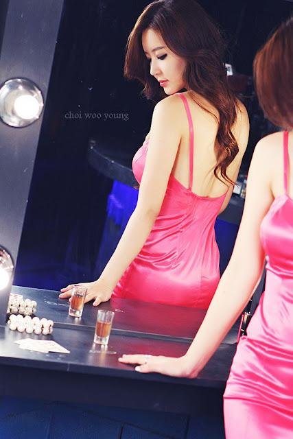 Yoon Joo Ha Sexy in Pink Dress