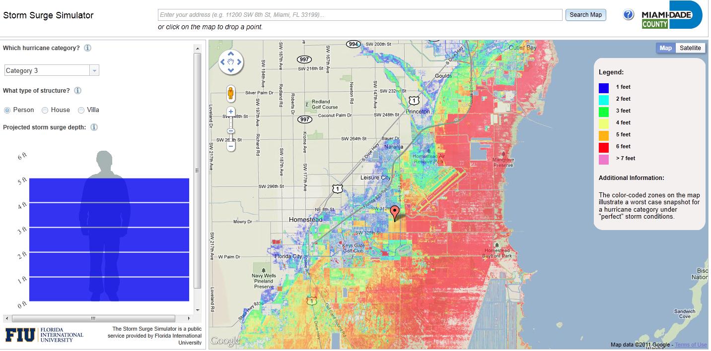 storm surge simulator google maps for miami dade county