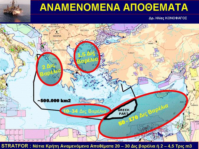 Αναμενόμενα αποθέματα υδρογονανθράκων εντός Ελληνική ΑΟΖ.