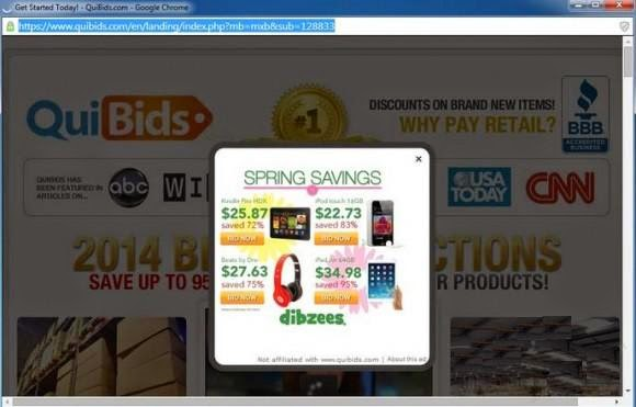 Quibids.com pop-up