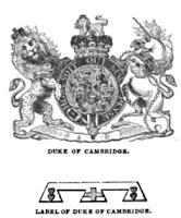 Arms and label of the Duke of Cambridge  from Debrett's Complete Peerage (1838)