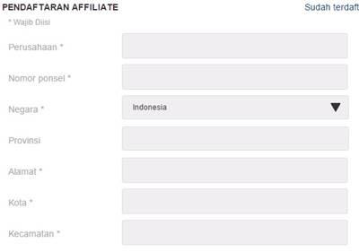Formulis pendaftaran affiliate lazada