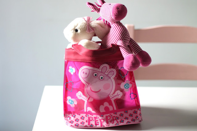 small Peppa Pig tote bag containing bella bunny and skiddle pony jellycat toys