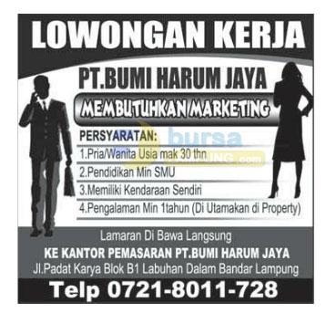 Lowongan Kerja Lampung, Sabtu 20 desember 2014 PT. Bumi Harum Jaya
