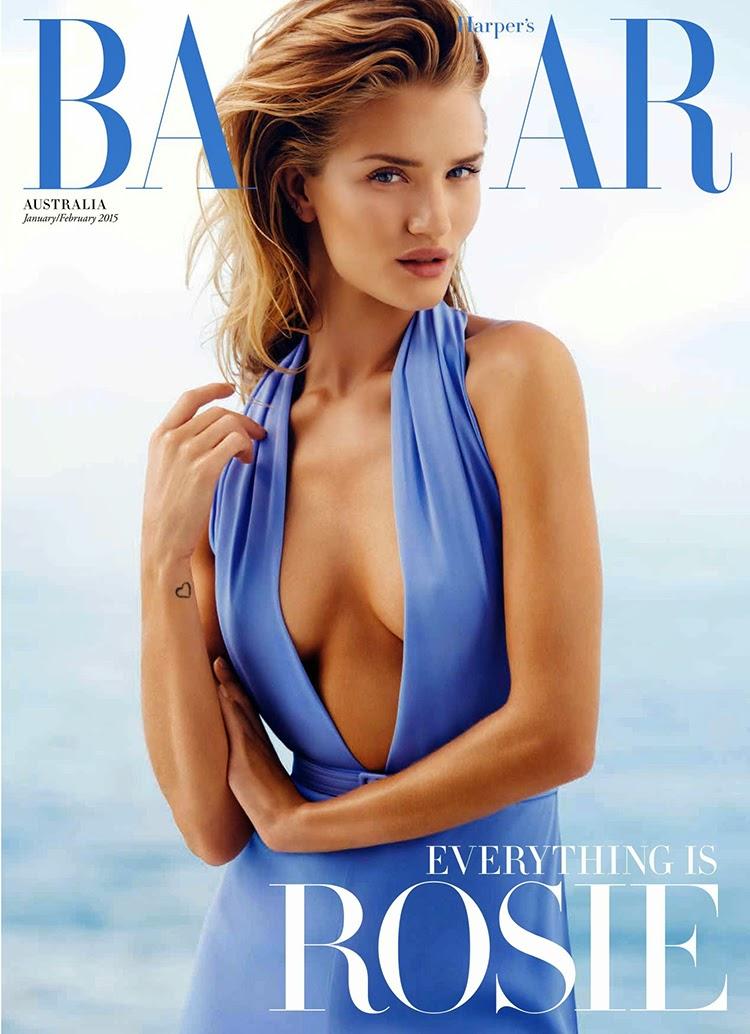 Rosie Huntington-Whiteley Cover For Harper's Bazaar Australia January 2015 By Simon Upton