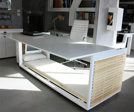 Oficina con escritorio cama fotos de oficinas y escritorios for Mueble que se convierte en cama