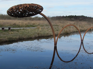 Sculpture in water in Lough Boora Parklands, County Offaly.