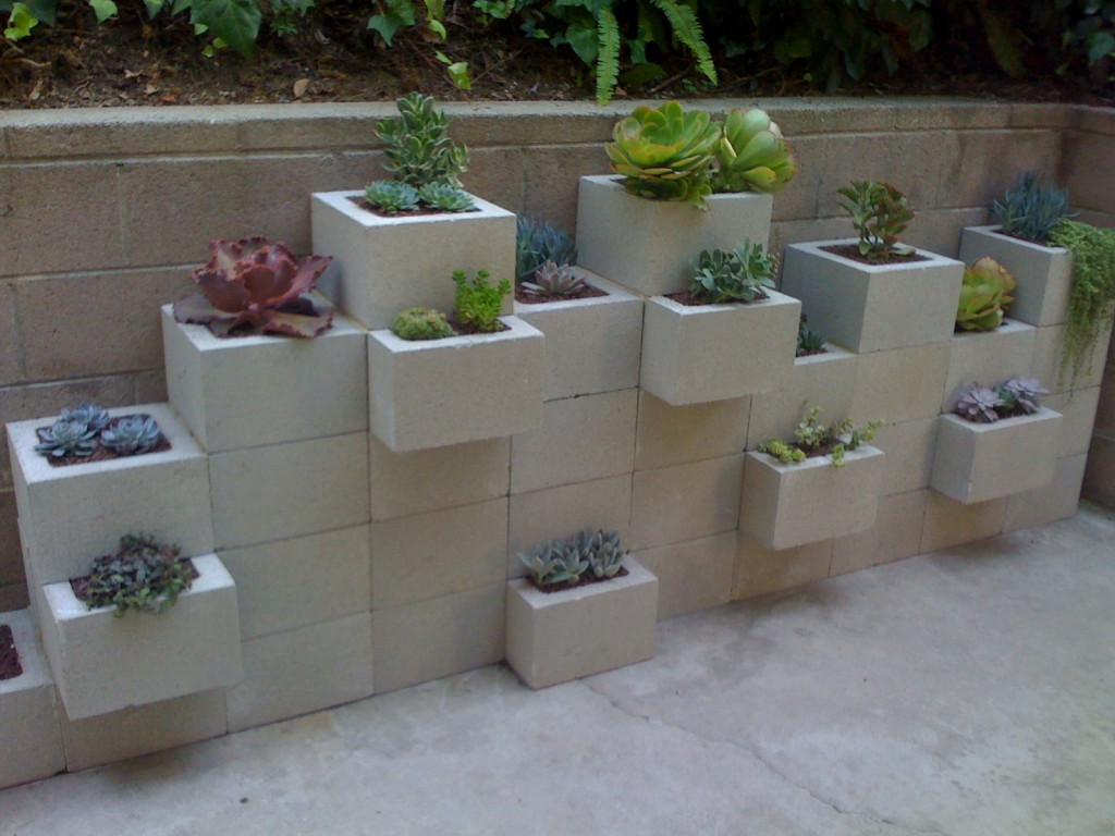 Cinder block garden potted 39 s cinder block planter wall for Concrete block walls design