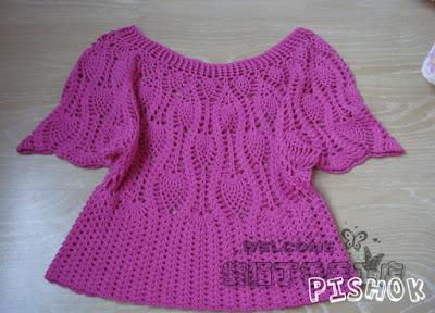 blusa crochê ponto abacaxi fácil
