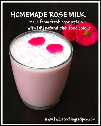 Homemade rose milk rose petals syrup natural pink food for Diy rose food