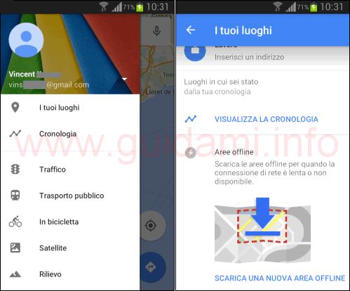 App Google Maps scaricare nuova area offline