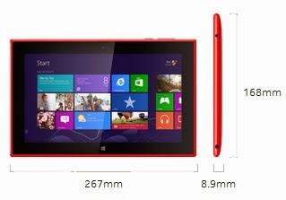 Dimensi Nokia Lumia 2520