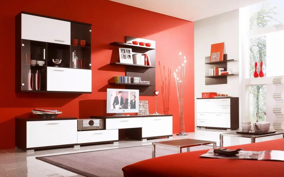 ruang tamu warna merah
