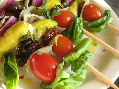 Greek salad on skewers
