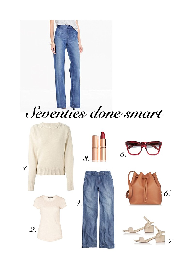 Fall trends Flares denim trousers Madewell, Isabel Marant sweater beige
