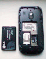 LG500g without back cover showing battery and sim card and microsd