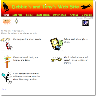 Home page of our news website at the start of 2002. White background and cartoon and text links