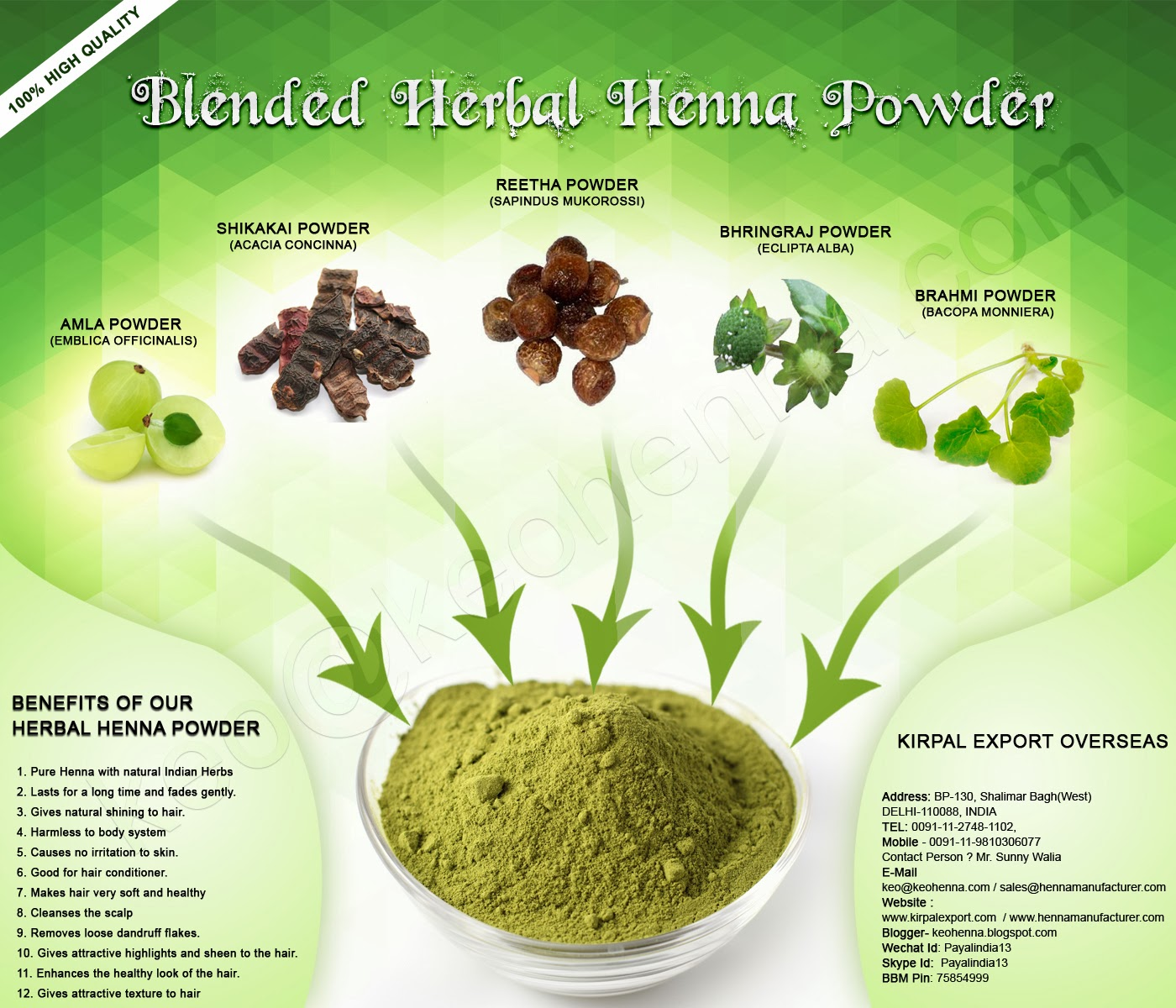 Kirpal Export Overseas Natural Henna Manufacturers Blended Herbal