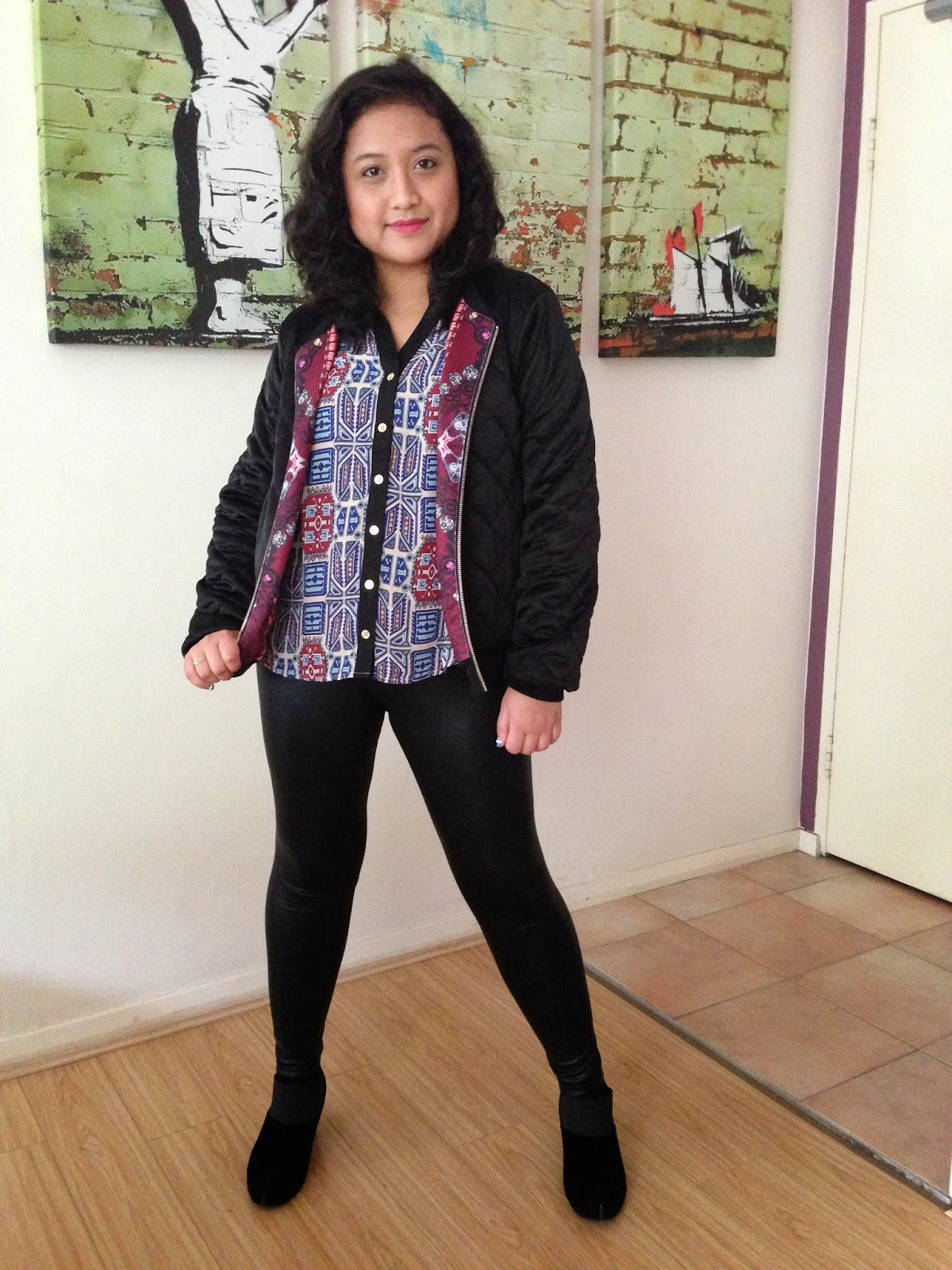 Reversible Sportsgirl bomber jacket, TEMT blouse, leather look leggings