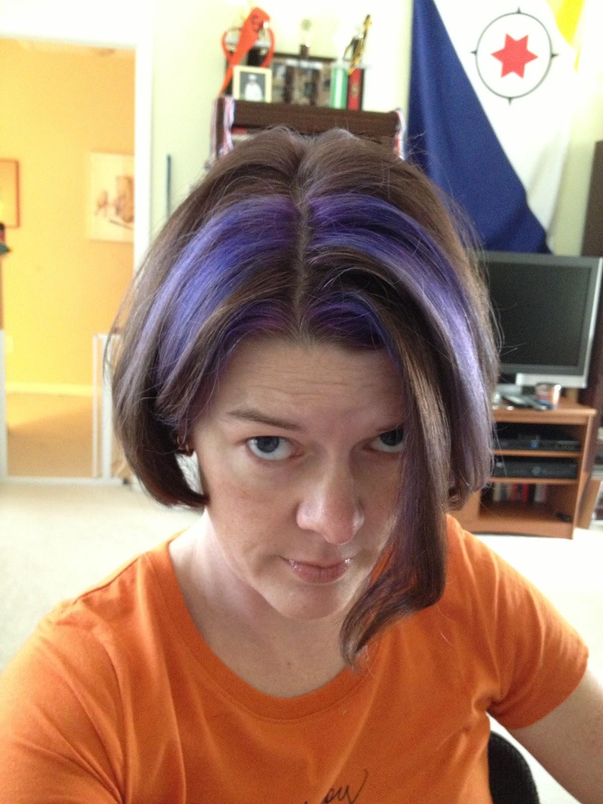 Brown hair with purple streaks