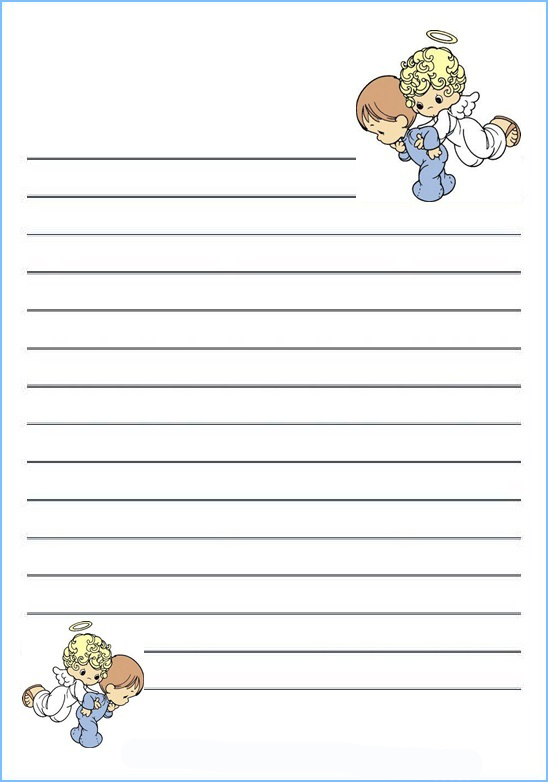 Gratis Papel Para Cartas Infantil De Bonitos Angelitos Para Ninos