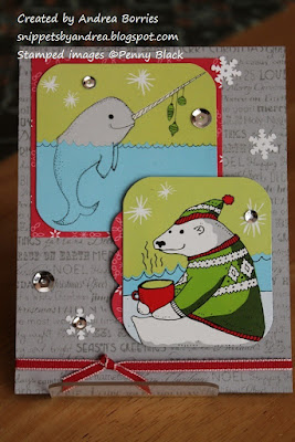 Upcycled Christmas card made with images from a box from Trader Joe's Candy Cane Green Tea.