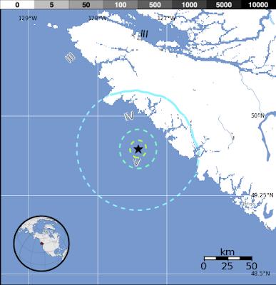 Epicentro terremoto canada, 04 de Agosto 2013
