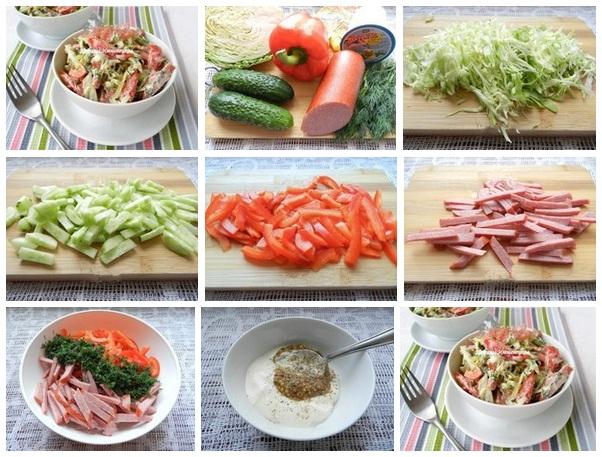 Салат с колбасой копченой и огурцами