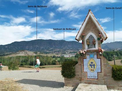 Panoràmica des del Pedronet de la Miraculosa amb les serres de Bellmunt i Curull al seu darrere