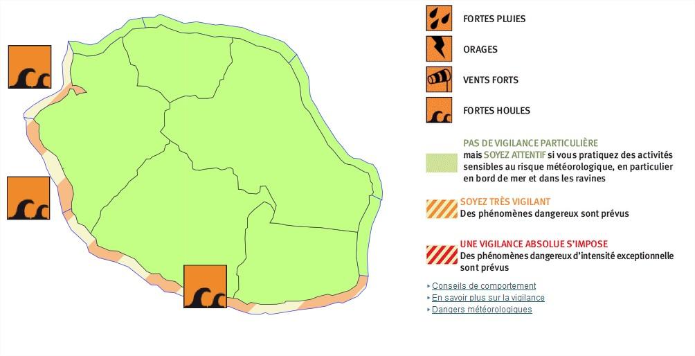 Vigilance Forte Houle pour les zones Ouest et Sud de la Réunion