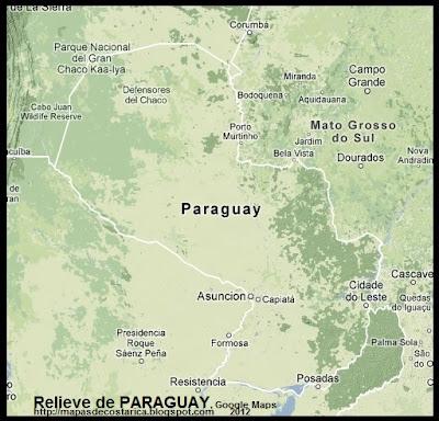 Mapa de Relieve de PARAGUAY, Google Maps