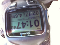 Garmin reading: one hour, forty seven minutes, 4.69km.