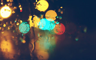 Lights Rain Window Lights Blue Yellow Orange HD Wallpaper