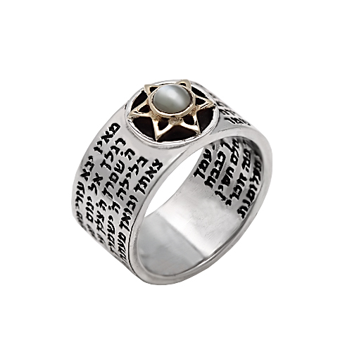 jewelry kabbalah rings with gems on silver gold
