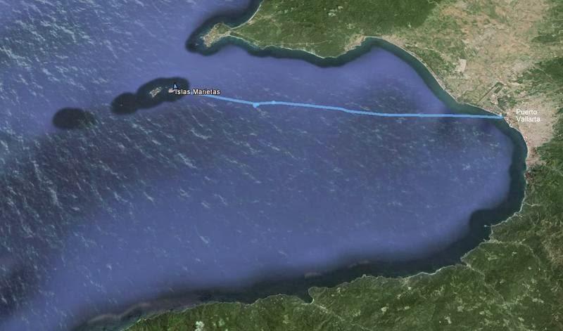 Ruta a las islas Marietas desde la marina en Puerto Vallarta