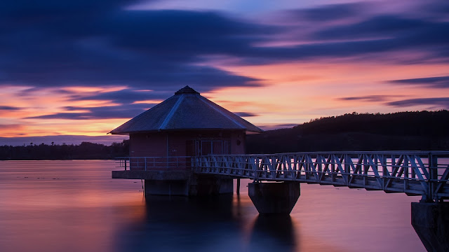 Sunset Scenery Lake House Bridge Purple Sky HD Wallpaper