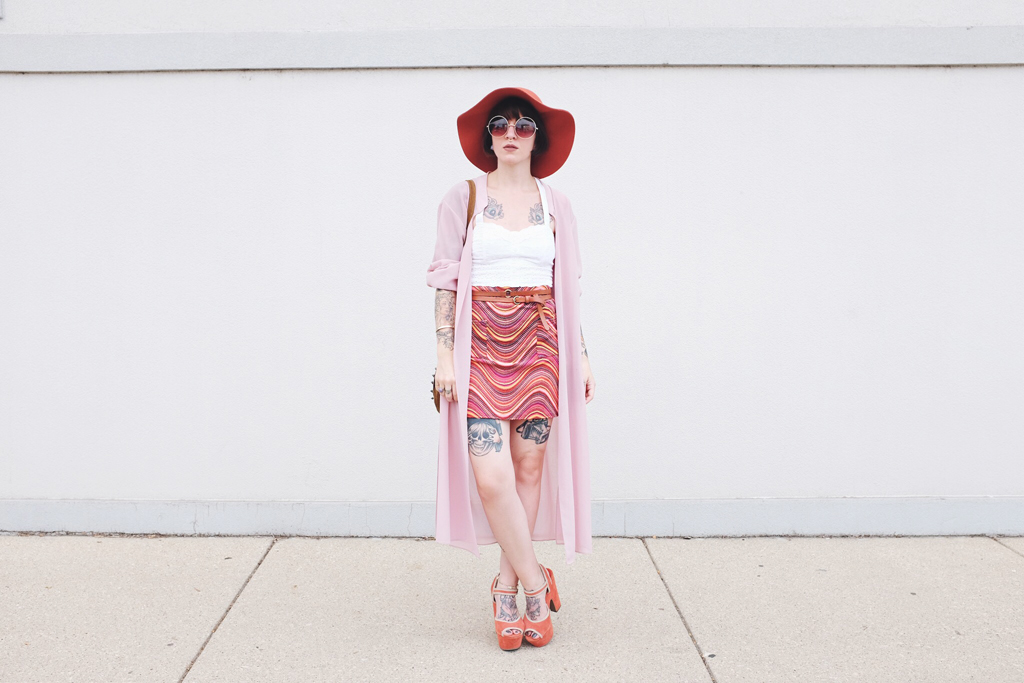 70s Boho Outfit with patterned skirt and longline duster - Mini Penny Blog