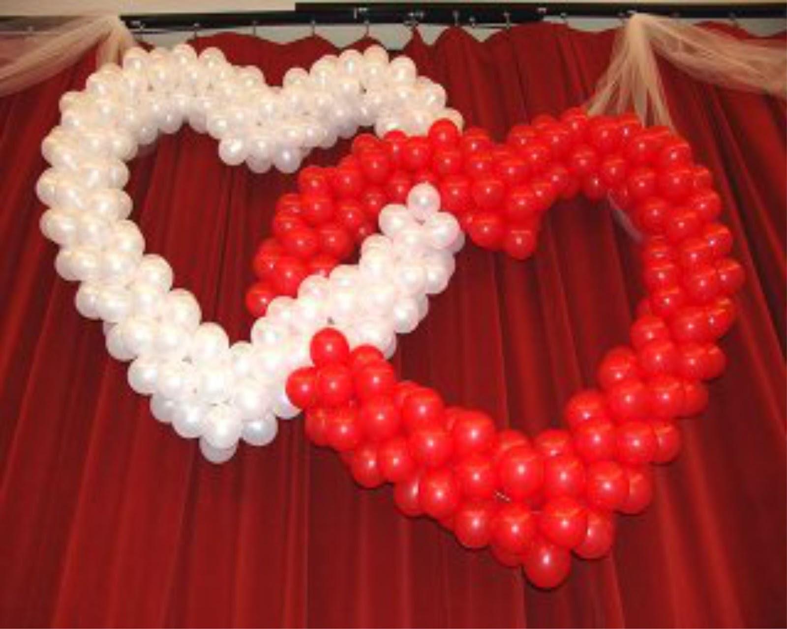 Двойное сердце из шаров своими руками