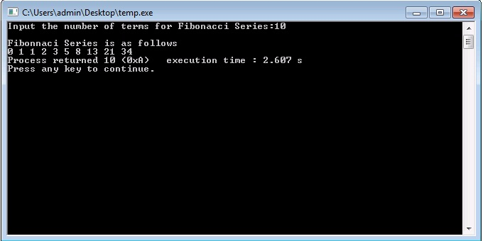C/C++ Program for Fibonacci Series Using Recursion
