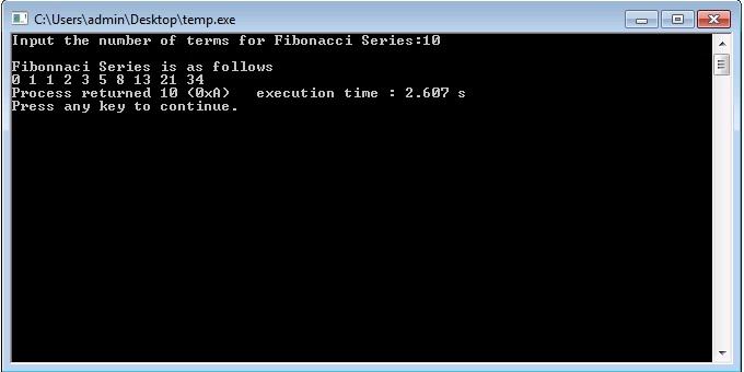 Fibonacci Series in C++ using For Loop